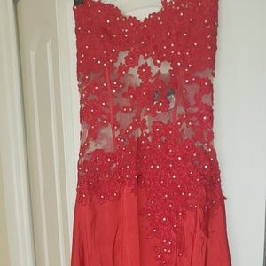 Red lace top see through prom/evening dress